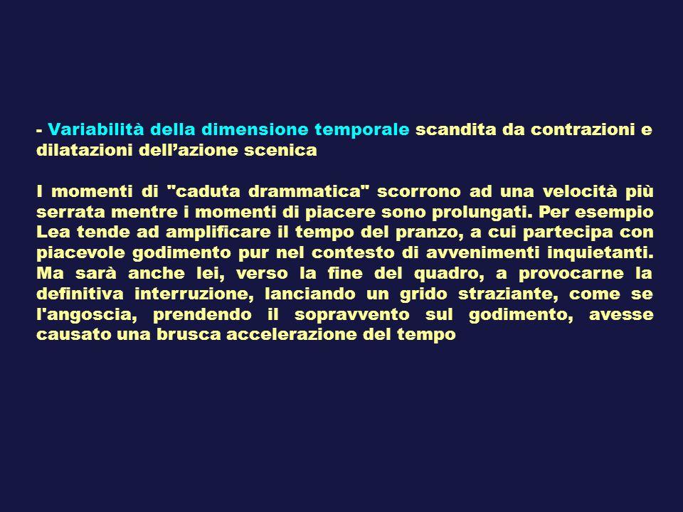 - Variabilità della dimensione temporale scandita da contrazioni e dilatazioni dell'azione scenica