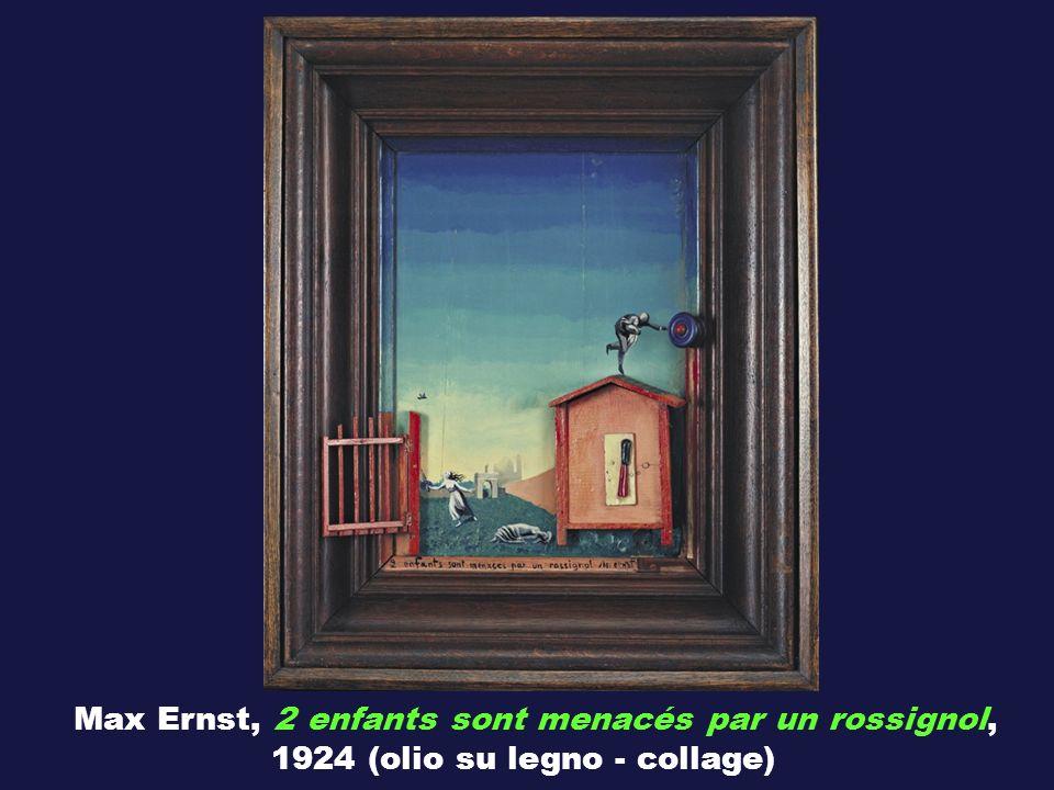 Max Ernst, 2 enfants sont menacés par un rossignol, 1924 (olio su legno - collage)