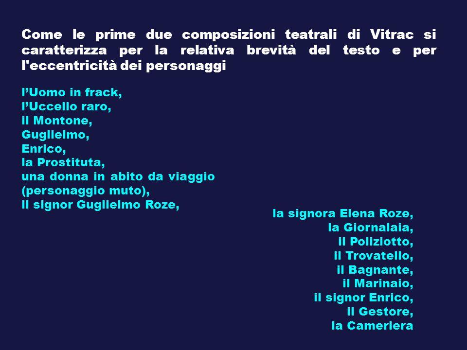 Come le prime due composizioni teatrali di Vitrac si caratterizza per la relativa brevità del testo e per l eccentricità dei personaggi