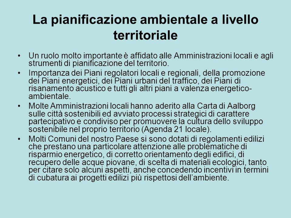 La pianificazione ambientale a livello territoriale