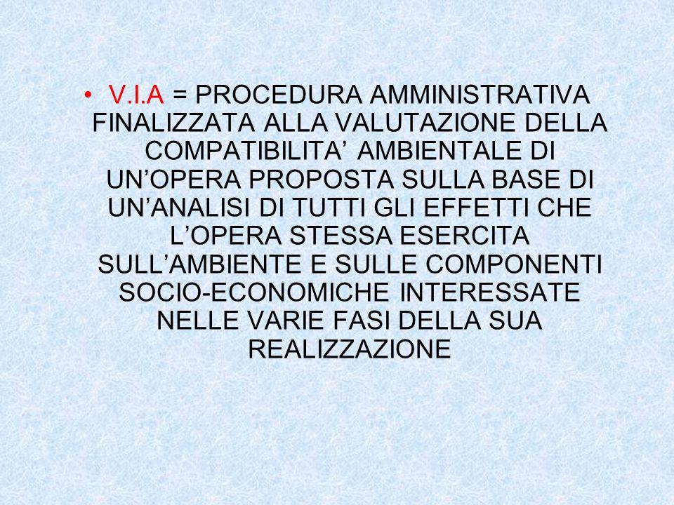 V.I.A = PROCEDURA AMMINISTRATIVA FINALIZZATA ALLA VALUTAZIONE DELLA COMPATIBILITA' AMBIENTALE DI UN'OPERA PROPOSTA SULLA BASE DI UN'ANALISI DI TUTTI GLI EFFETTI CHE L'OPERA STESSA ESERCITA SULL'AMBIENTE E SULLE COMPONENTI SOCIO-ECONOMICHE INTERESSATE NELLE VARIE FASI DELLA SUA REALIZZAZIONE