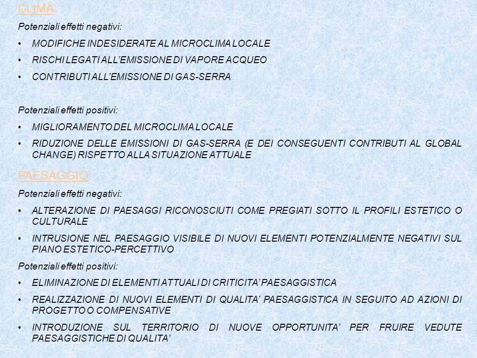CLIMA: PAESAGGIO: Potenziali effetti negativi: