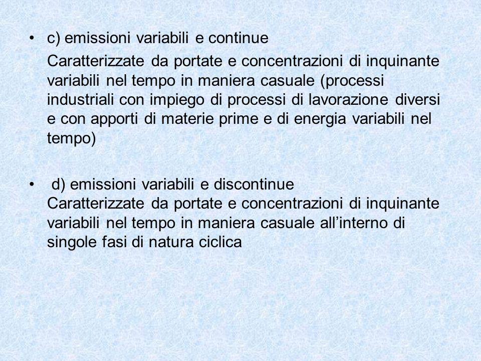 c) emissioni variabili e continue