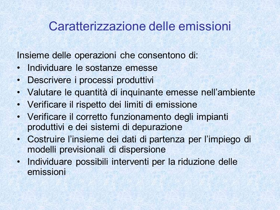Caratterizzazione delle emissioni