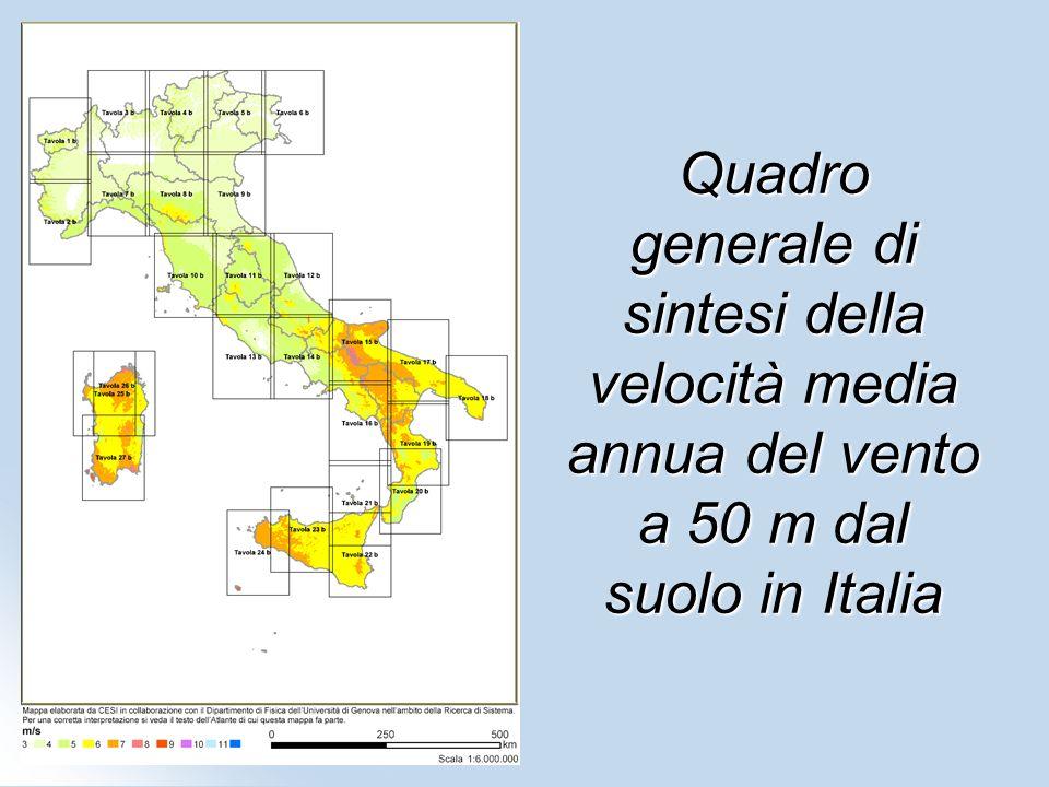 Quadro generale di sintesi della velocità media annua del vento a 50 m dal suolo in Italia
