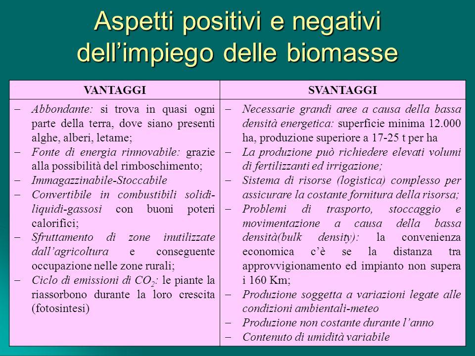 Aspetti positivi e negativi dell'impiego delle biomasse