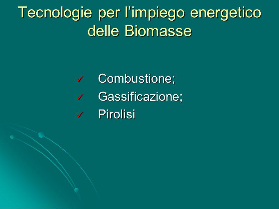 Tecnologie per l'impiego energetico delle Biomasse