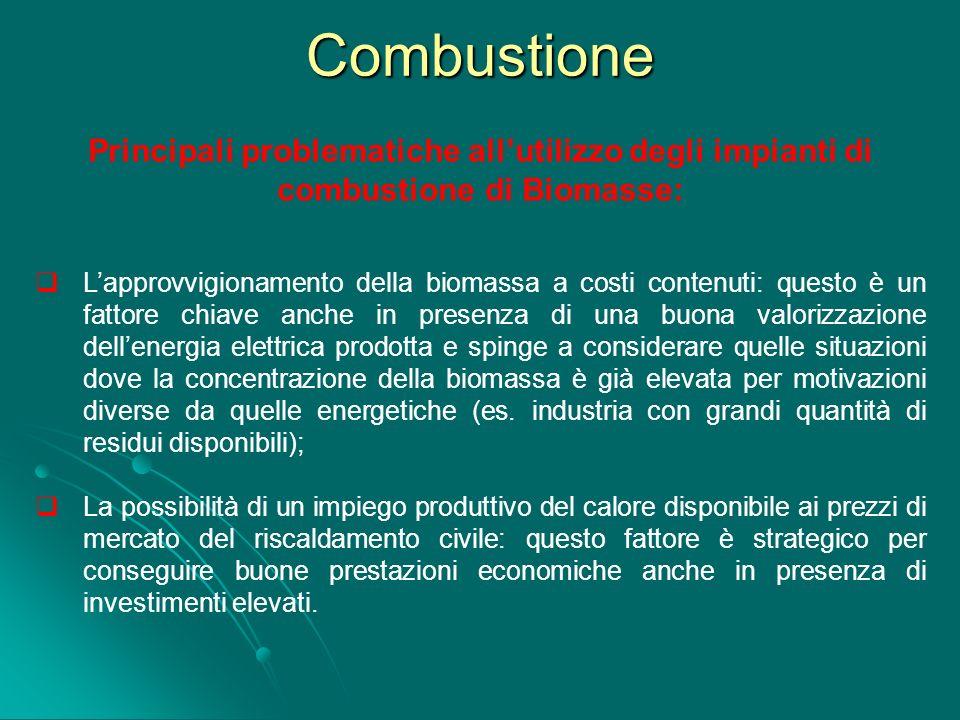 Combustione Principali problematiche all'utilizzo degli impianti di combustione di Biomasse: