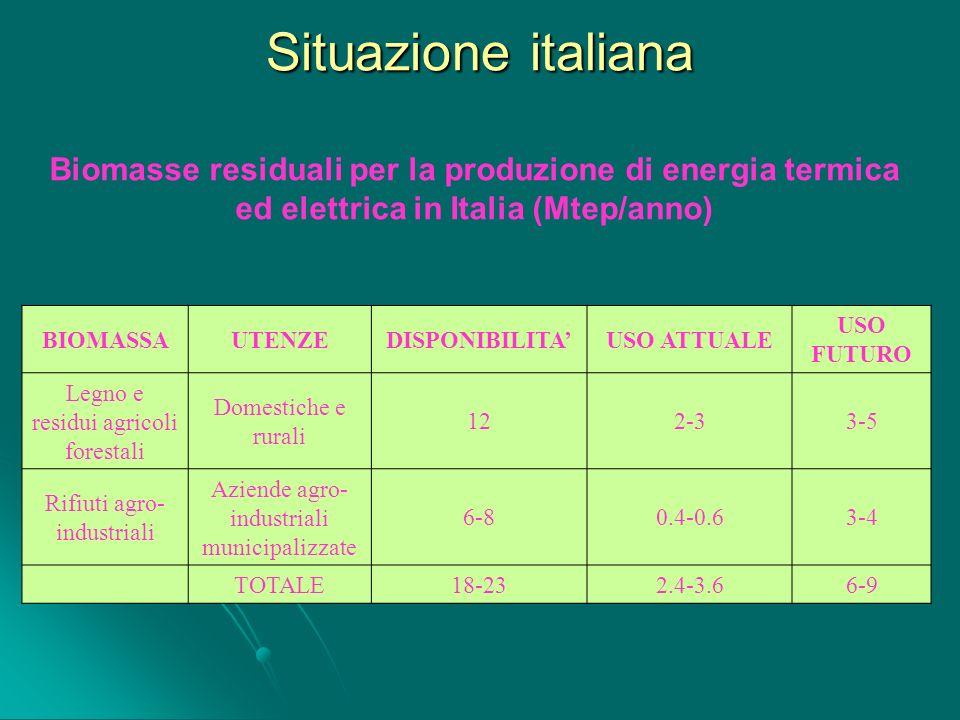 Situazione italiana Biomasse residuali per la produzione di energia termica ed elettrica in Italia (Mtep/anno)