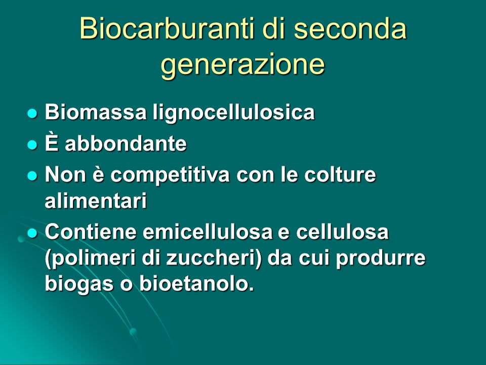 Biocarburanti di seconda generazione