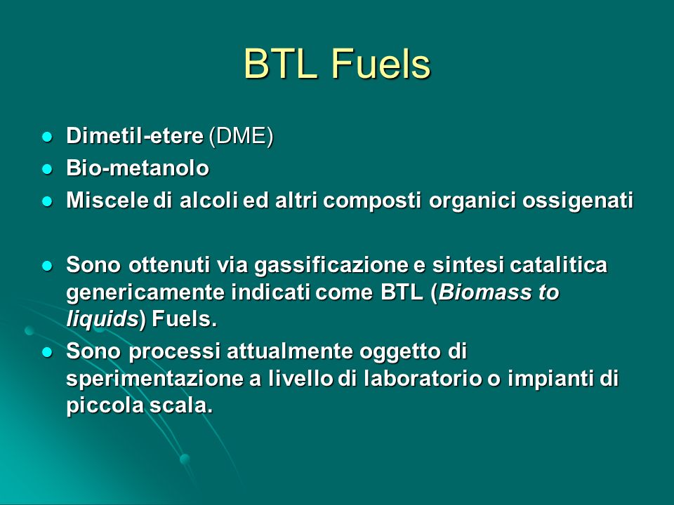 BTL Fuels Dimetil-etere (DME) Bio-metanolo