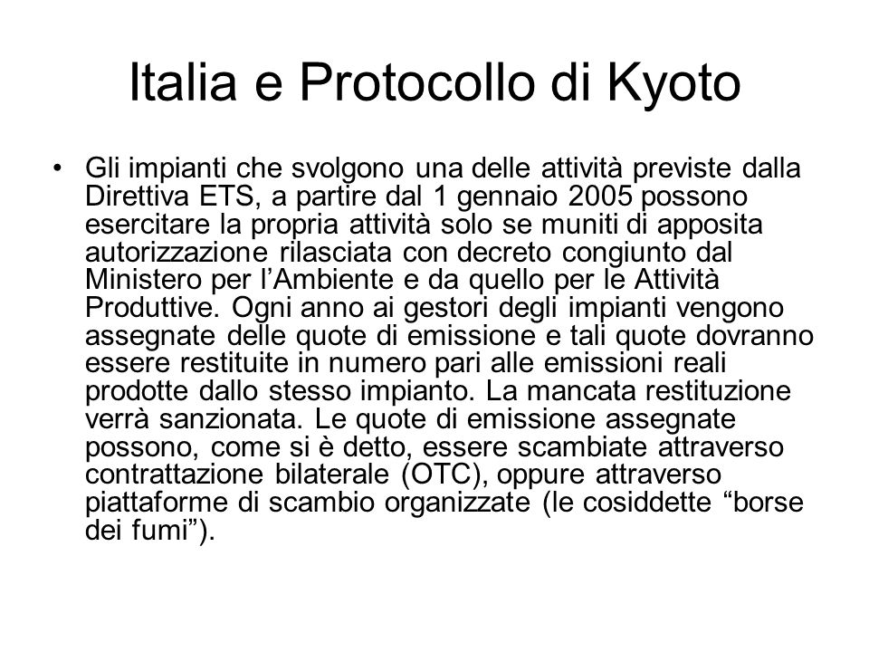 Italia e Protocollo di Kyoto