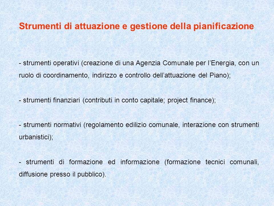 Strumenti di attuazione e gestione della pianificazione