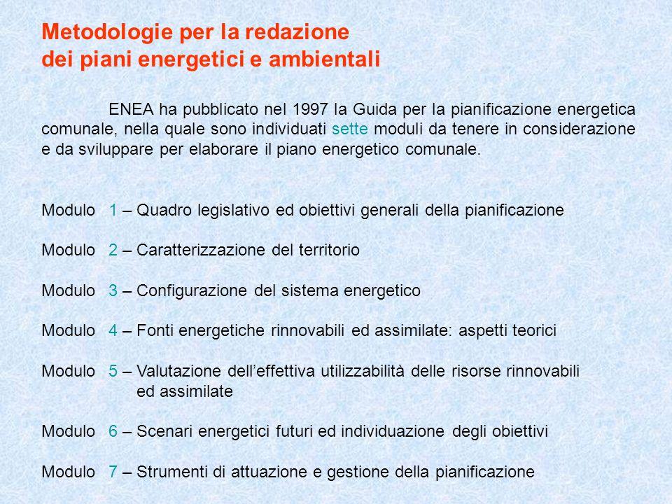 Metodologie per la redazione dei piani energetici e ambientali