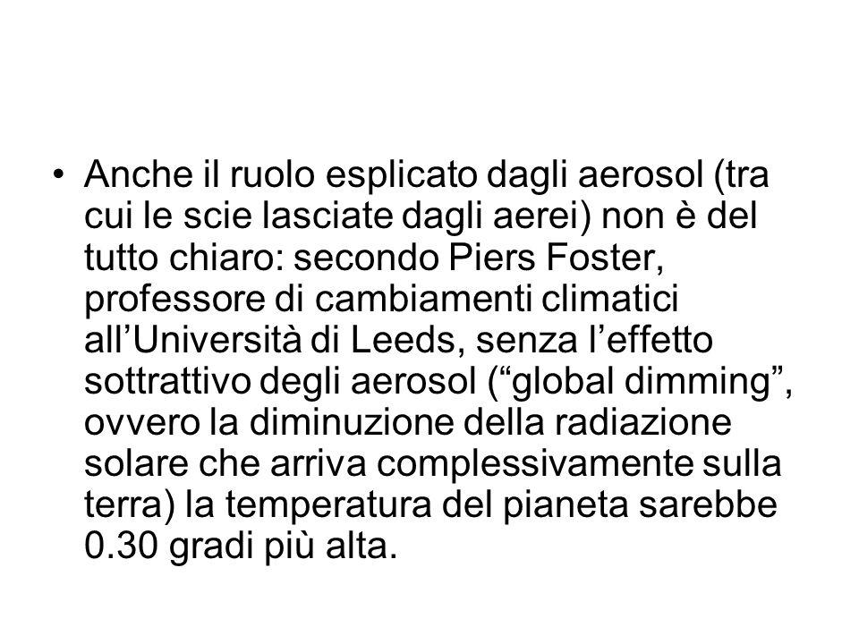 Anche il ruolo esplicato dagli aerosol (tra cui le scie lasciate dagli aerei) non è del tutto chiaro: secondo Piers Foster, professore di cambiamenti climatici all'Università di Leeds, senza l'effetto sottrattivo degli aerosol ( global dimming , ovvero la diminuzione della radiazione solare che arriva complessivamente sulla terra) la temperatura del pianeta sarebbe 0.30 gradi più alta.