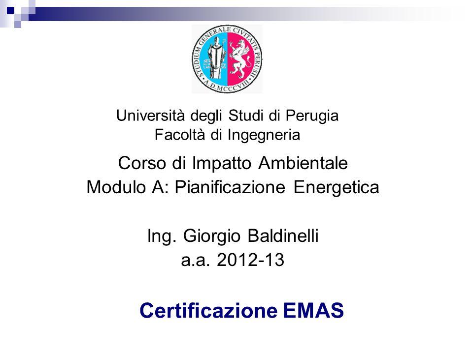 Certificazione EMAS Corso di Impatto Ambientale