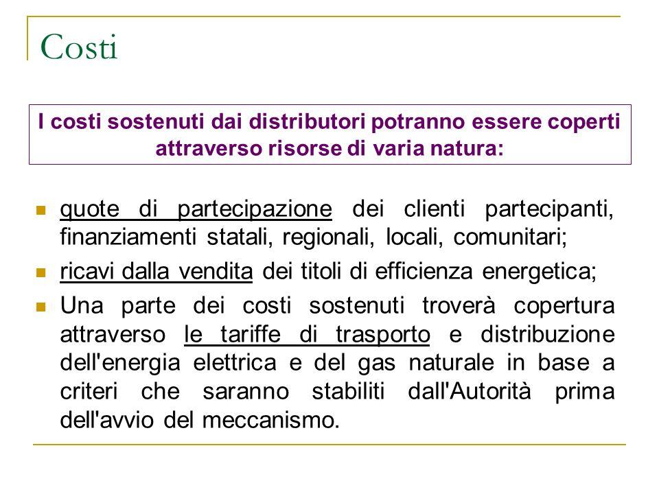 Costi I costi sostenuti dai distributori potranno essere coperti attraverso risorse di varia natura: