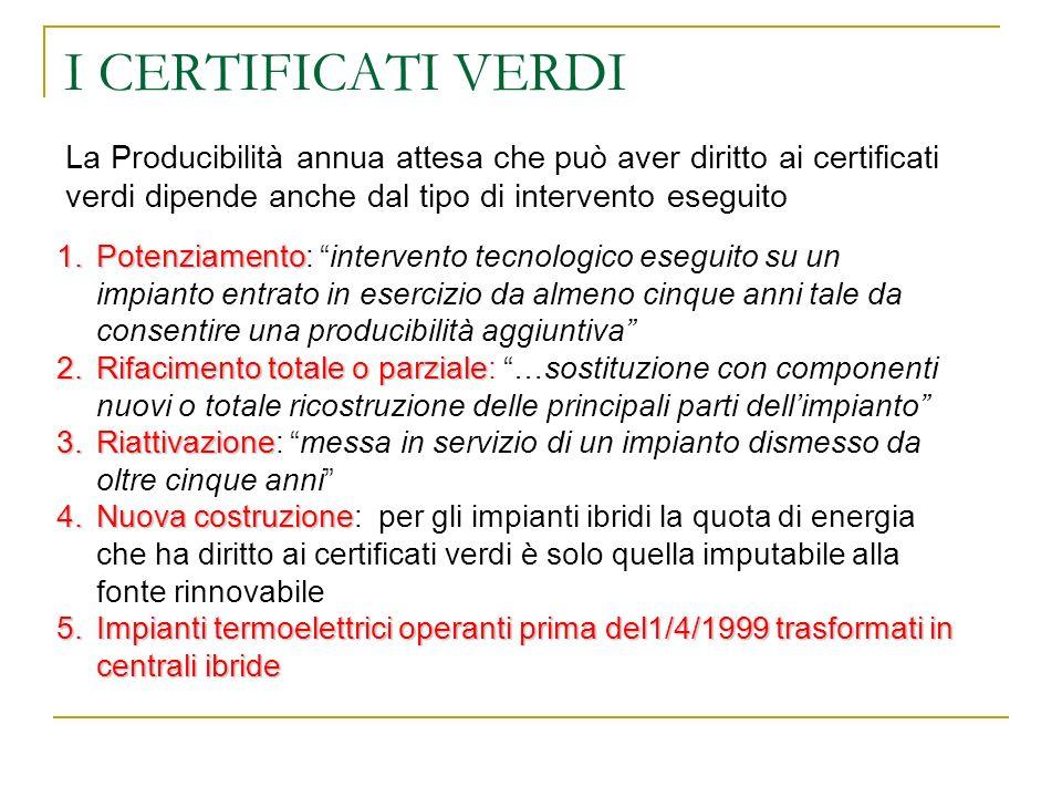 I CERTIFICATI VERDI La Producibilità annua attesa che può aver diritto ai certificati verdi dipende anche dal tipo di intervento eseguito.