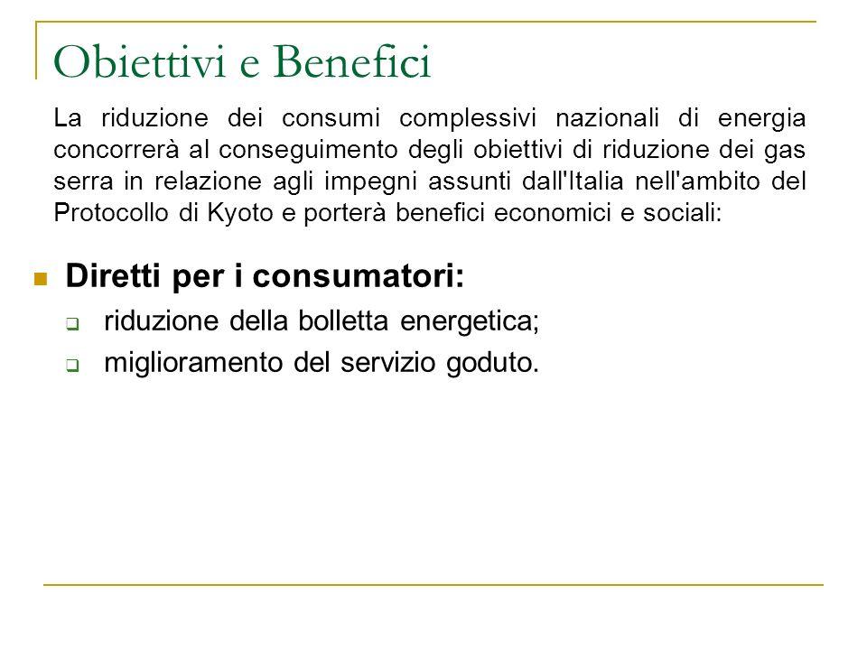 Obiettivi e Benefici Diretti per i consumatori:
