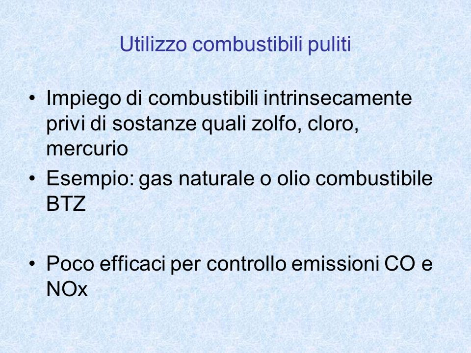 Utilizzo combustibili puliti