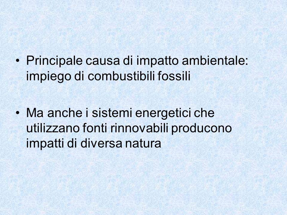 Principale causa di impatto ambientale: impiego di combustibili fossili