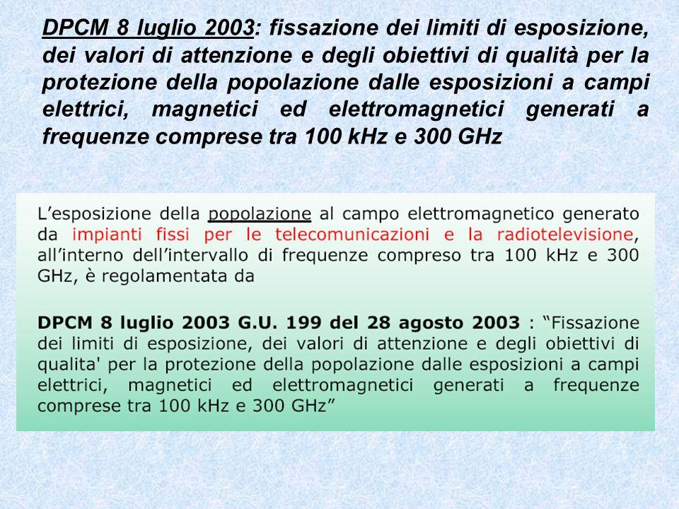 DPCM 8 luglio 2003: fissazione dei limiti di esposizione, dei valori di attenzione e degli obiettivi di qualità per la protezione della popolazione dalle esposizioni a campi elettrici, magnetici ed elettromagnetici generati a frequenze comprese tra 100 kHz e 300 GHz