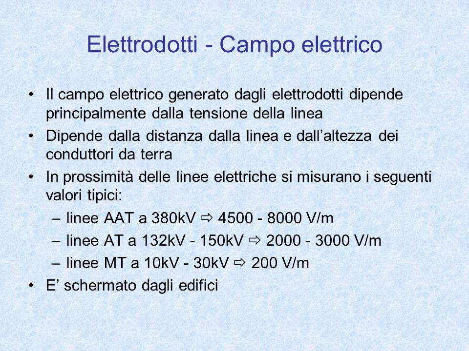 Elettrodotti - Campo elettrico