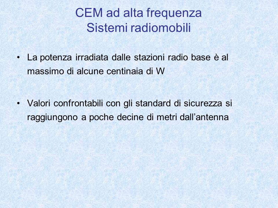 CEM ad alta frequenza Sistemi radiomobili