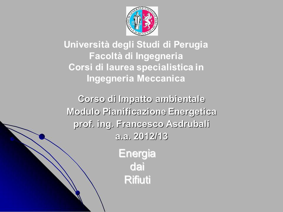 Università degli Studi di Perugia Facoltà di Ingegneria Corsi di laurea specialistica in Ingegneria Meccanica