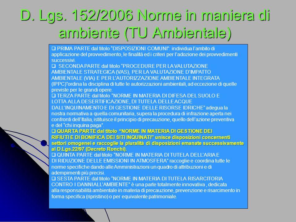 D. Lgs. 152/2006 Norme in maniera di ambiente (TU Ambientale)