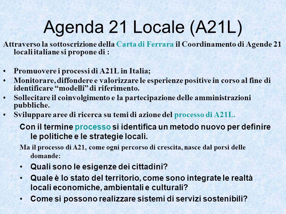 Agenda 21 Locale (A21L) Attraverso la sottoscrizione della Carta di Ferrara il Coordinamento di Agende 21 locali italiane si propone di :