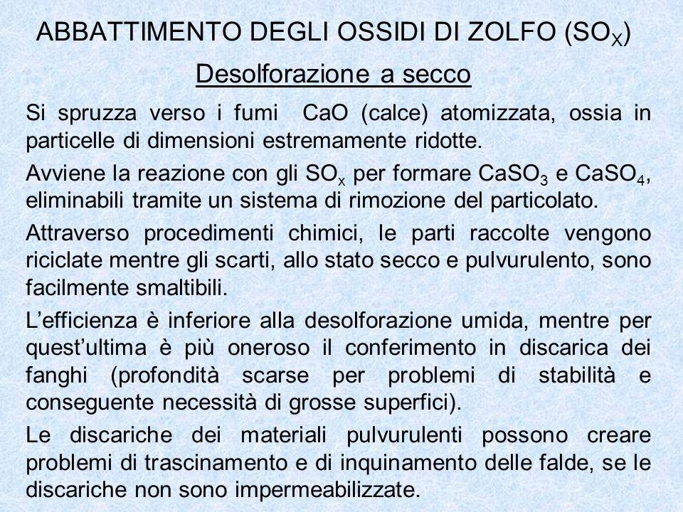 ABBATTIMENTO DEGLI OSSIDI DI ZOLFO (SOX) Desolforazione a secco