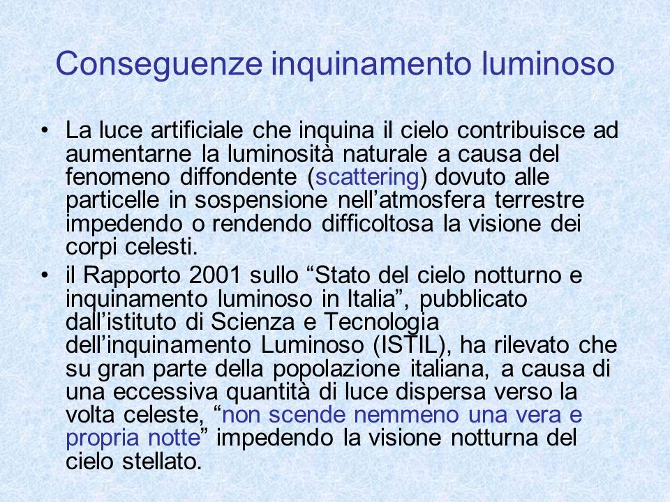 Conseguenze inquinamento luminoso