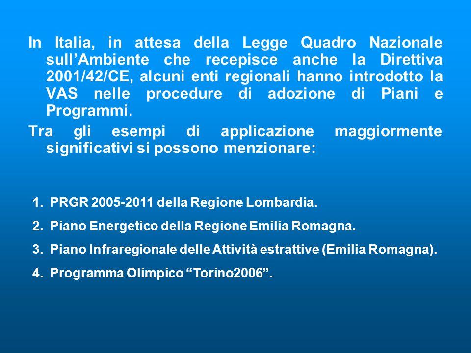 In Italia, in attesa della Legge Quadro Nazionale sull'Ambiente che recepisce anche la Direttiva 2001/42/CE, alcuni enti regionali hanno introdotto la VAS nelle procedure di adozione di Piani e Programmi.