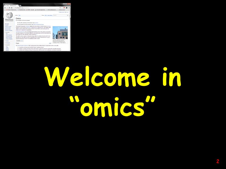 Welcome in omics