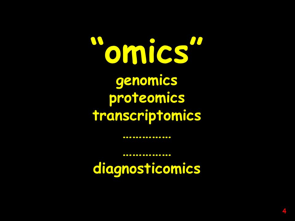 omics genomics proteomics transcriptomics …………… diagnosticomics