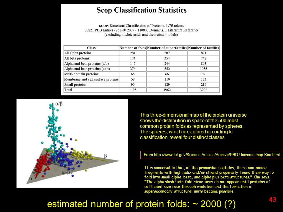 estimated number of protein folds: ~ 2000 ( )
