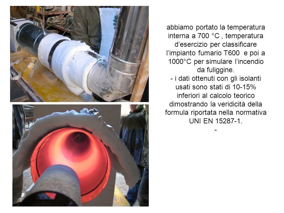 abbiamo portato la temperatura interna a 700 °C , temperatura d'esercizio per classificare l'impianto fumario T600 e poi a 1000°C per simulare l'incendio da fuliggine.