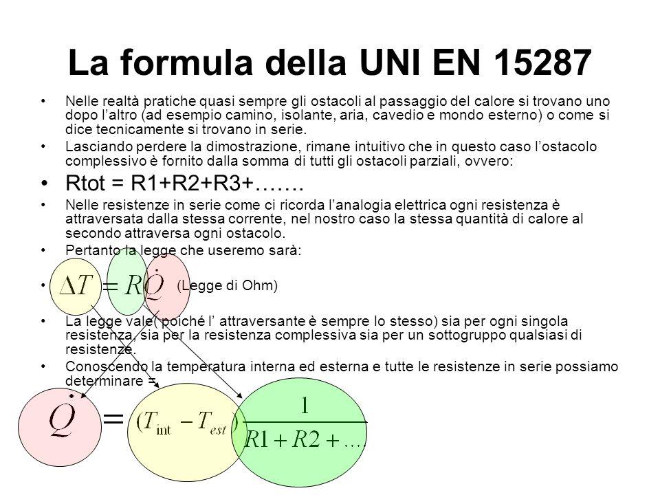 La formula della UNI EN 15287 Rtot = R1+R2+R3+…….