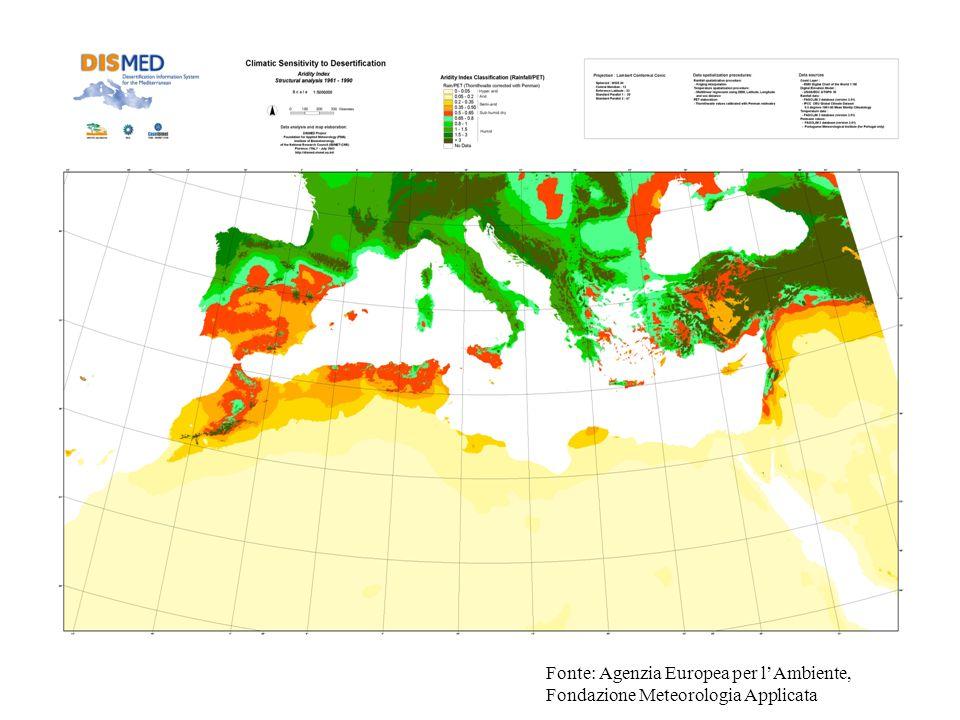 Fonte: Agenzia Europea per l'Ambiente, Fondazione Meteorologia Applicata