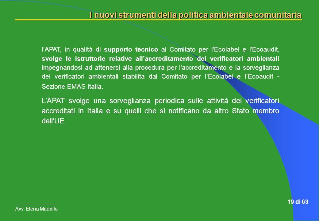 l'APAT, in qualità di supporto tecnico al Comitato per l Ecolabel e l Ecoaudit, svolge le istruttorie relative all'accreditamento dei verificatori ambientali impegnandosi ad attenersi alla procedura per l accreditamento e la sorveglianza dei verificatori ambientali stabilita dal Comitato per l'Ecolabel e l'Ecoaudit - Sezione EMAS Italia.