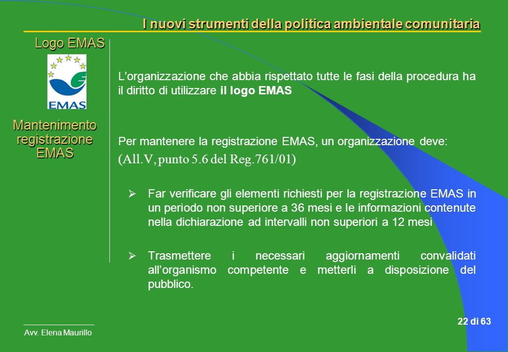 Mantenimento registrazione EMAS