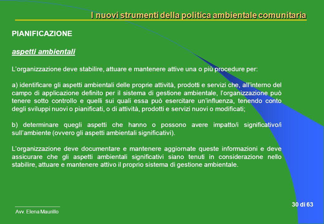 PIANIFICAZIONE aspetti ambientali
