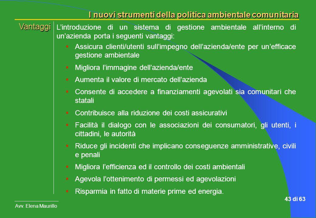 Vantaggi L'introduzione di un sistema di gestione ambientale all'interno di un'azienda porta i seguenti vantaggi: