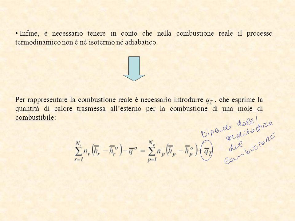 Infine, è necessario tenere in conto che nella combustione reale il processo termodinamico non è né isotermo né adiabatico.