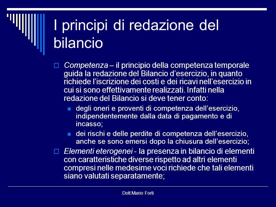 I principi di redazione del bilancio
