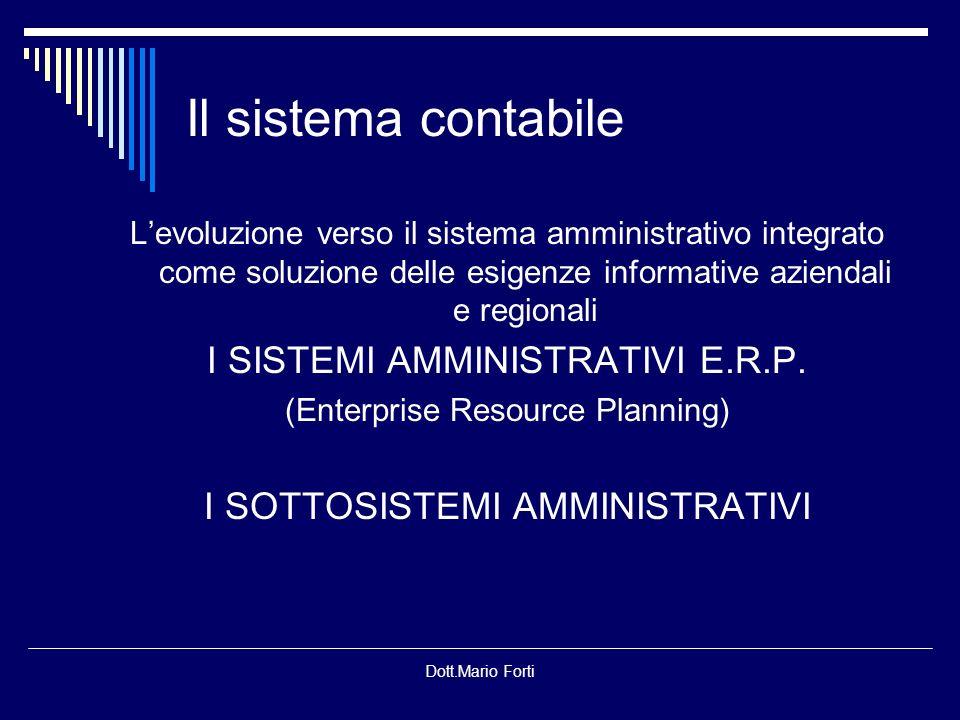 Il sistema contabile I SISTEMI AMMINISTRATIVI E.R.P.