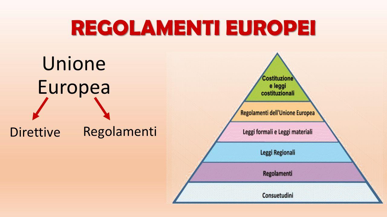 REGOLAMENTI EUROPEI Unione Europea Direttive Regolamenti