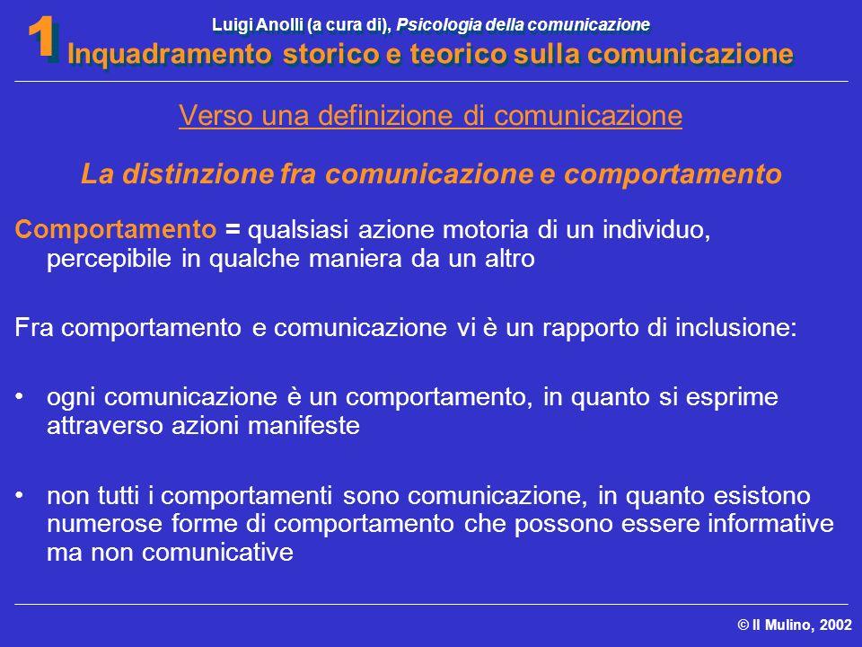 La distinzione fra comunicazione e comportamento