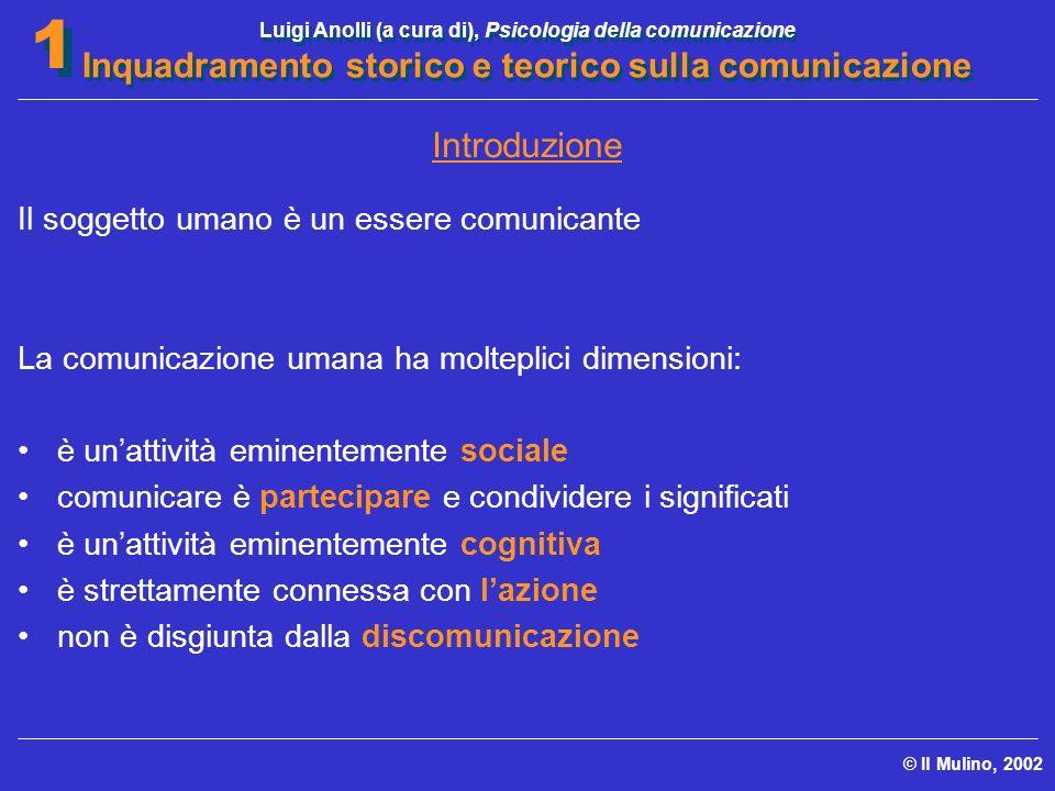 Introduzione Il soggetto umano è un essere comunicante